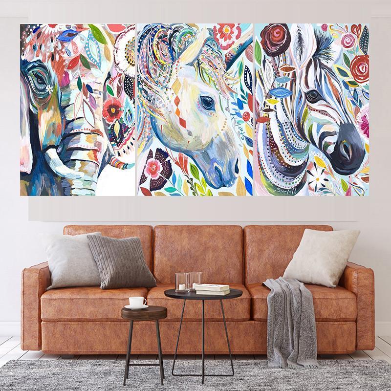 3 PCS Colores abstractos Animal DIY Taladro completo Plaza / Redondo 5D Pintura de diamantes Mosaico Pinturas de costura Q1203