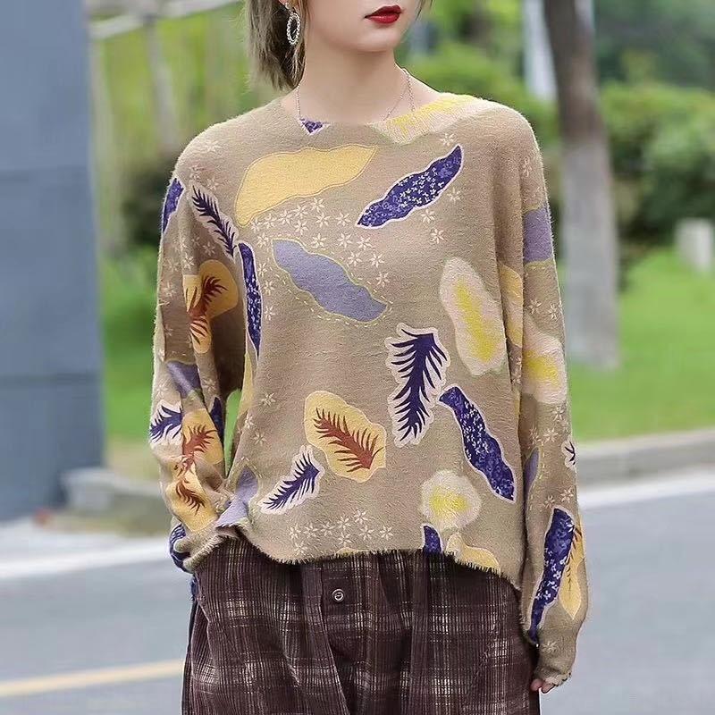 8nY6N 2020 Herbst New lose Nerz Pullover Sweatshirt Fell Rundhals Pullover gedruckt Allgleiches Pullover Schlankheits-Top für Frauen