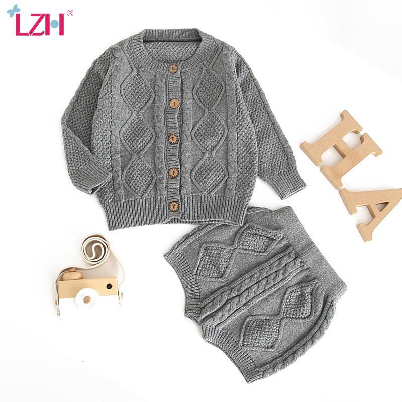 LZH новорожденных младенцев мальчиков Одежда Костюм осень зима ребёнка Одежда наборы Вязание свитер Кардиган Шорты Outfit Младенческой Одежда