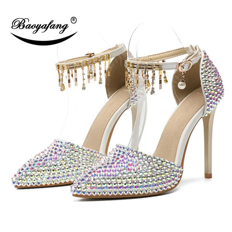 BaoYaFang 2020 nuevos llega los zapatos de la boda AB mujer de cristal de 11 cm tacones altos zapatos vestido nupcial del partido del dedo del pie acentuado más el tamaño 46