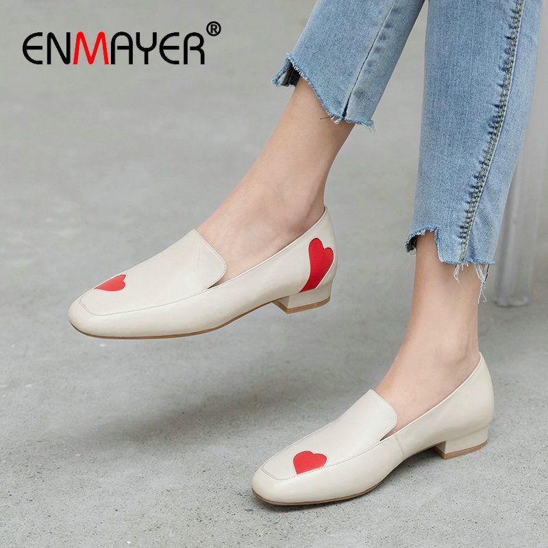 ENMAYER 2020 Deslizamento-em sapatos de salto Mulher Praça Doce Básico de couro genuíno das mulheres dos saltos altos Casual PU Wedding Shoes Tamanho 34-39