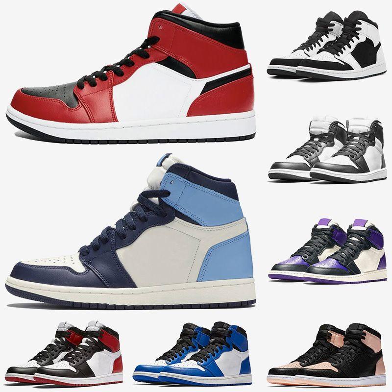 Nike Air Jordan Retro 1 1s femmes des nouveaux hommes chaussures de basket-ball Jumpman 1 Chicago Noir Toe Retro Crimson Tint Noir Blanc formateurs de créateurs de chaussures