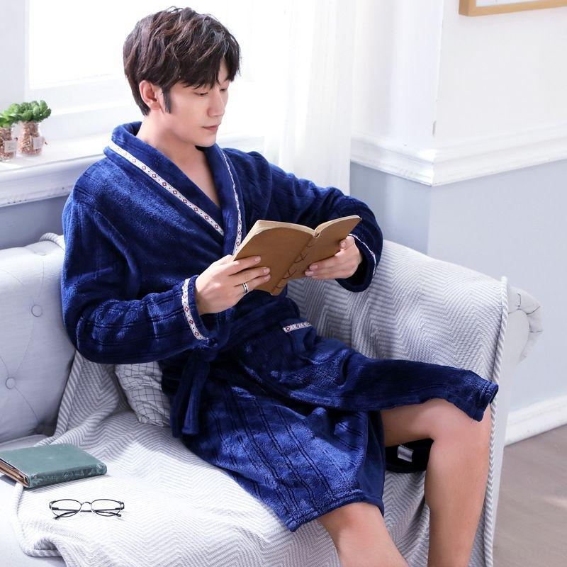 4UuKx пижамы Осень и зима фланель одежда ночной рубашке мужской ватки домашней одежды Халат O5W6h утолщенный длинный рукав пижамы домой гр