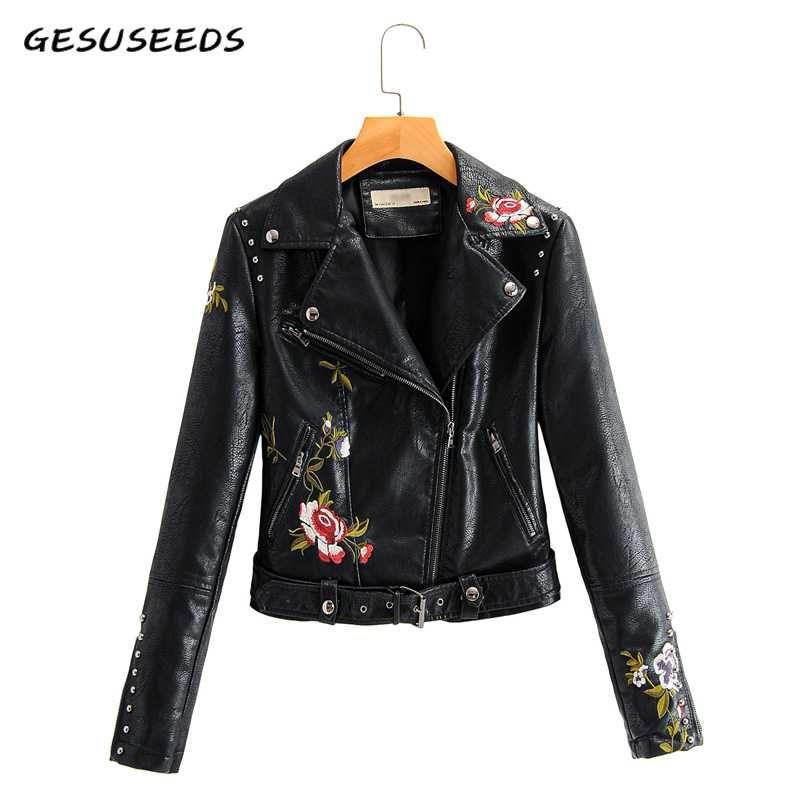 2020 Vintage искусственных кожаной куртки женщин пальто элегантного цветочный вышивка кожаного пальто черного мотоцикл куртка молния ремень бежевых