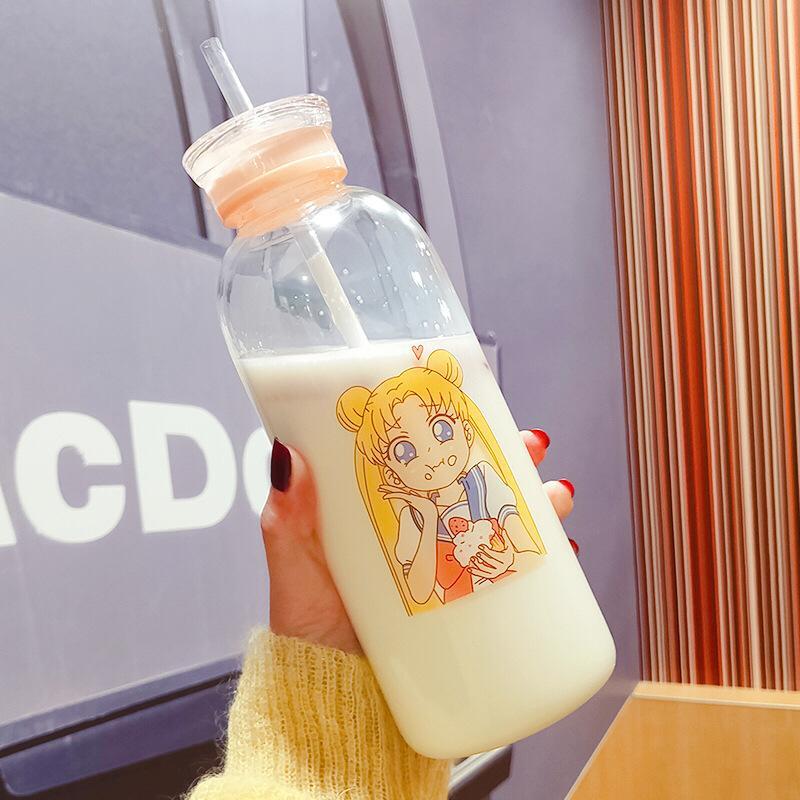 Garrafas Sailor Moon Silicone de vidro Garrafa de água Kawaii Eco vidro amigável com uma garrafa de palha Óculos bonito Cups Waterbottle mim Cl200920