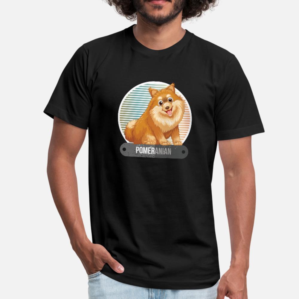 Cão doméstico engraçado Pomeranian canina da raça camiseta Homens da aptidão 100% algodão Plus Size 3xl Letters aptidão respirável Verão Estilo Formal