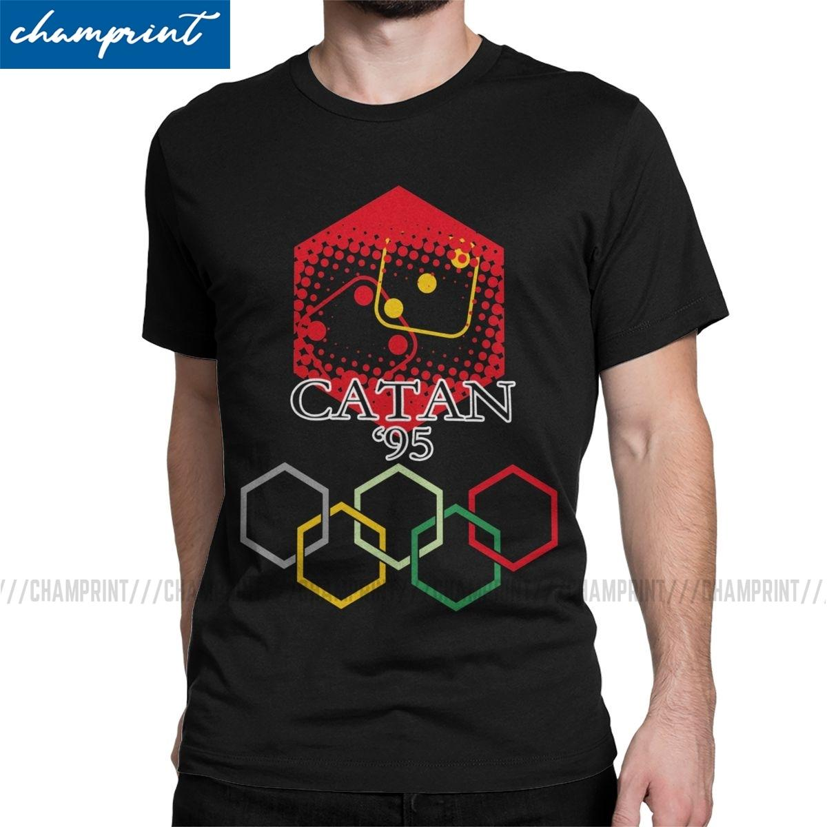 Catan Uomini T Shirts Coloni di Catan gioco Vintage Tee T-shirt o collo T-shirt puro cotone delle parti superiori Classic