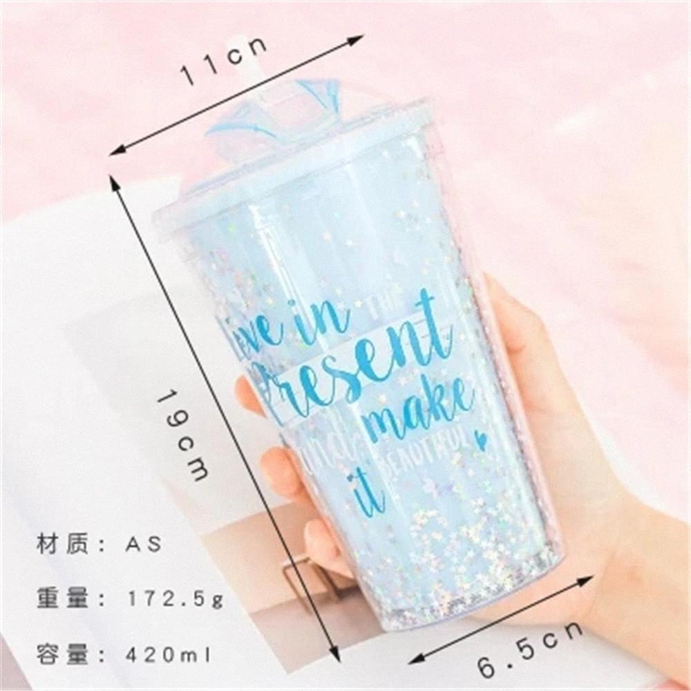 Bottle Coffee Mugs Lantejoula Estrela BPA plástico água Com viagem Straw portátil Tea Leite Duplas Copa Copos 420ml h55V #