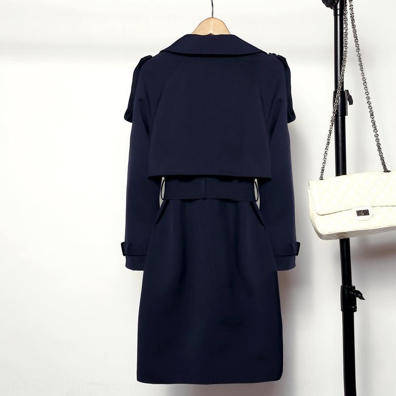 doppio petto cappotto Windbreaker slim-fit del 2020 primavera e autunno Nuovo coreano donne tutto-fiammifero britannico delle donne a vento media lunghezza 7I