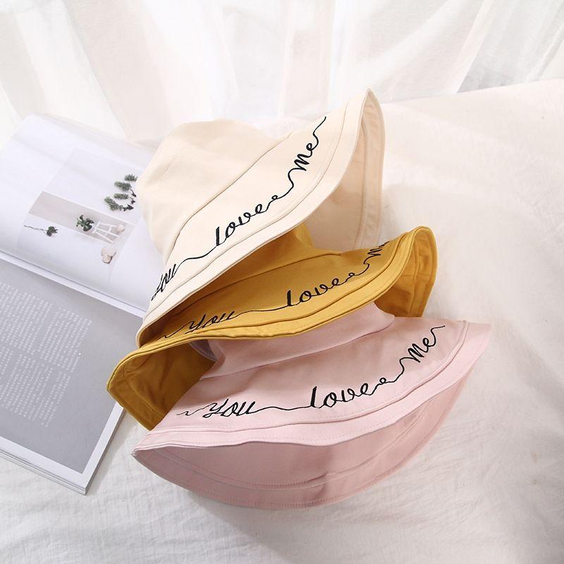 phldi 2020 Balde nova letra de cor sólida grandes beirais pescador primavera e verão sol sol chapéu estilo coreano tudo-Match chapéu das mulheres