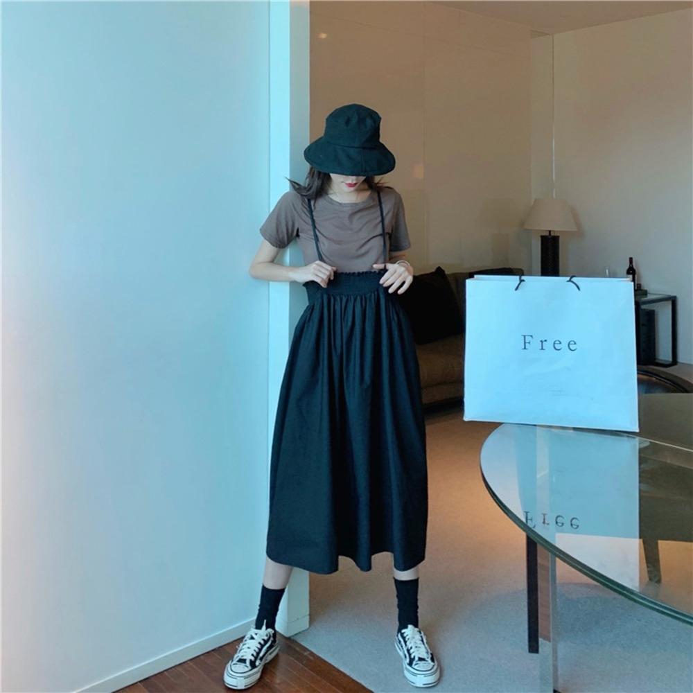 WnZFT 96S5C 2020 bretella fionda fionda nuova estate kaki maglietta allentata di disegno della cinghia sottile bretella gonna gonna + All-abbinare vestito stile coreano fo