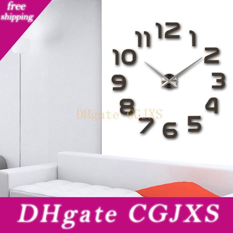 Eco -Friendly New relógio relógio relógios de parede Horloge 3d Diy Espelho acrílico Adesivos Decoração Sala de quartzo Agulha Diy Clocks