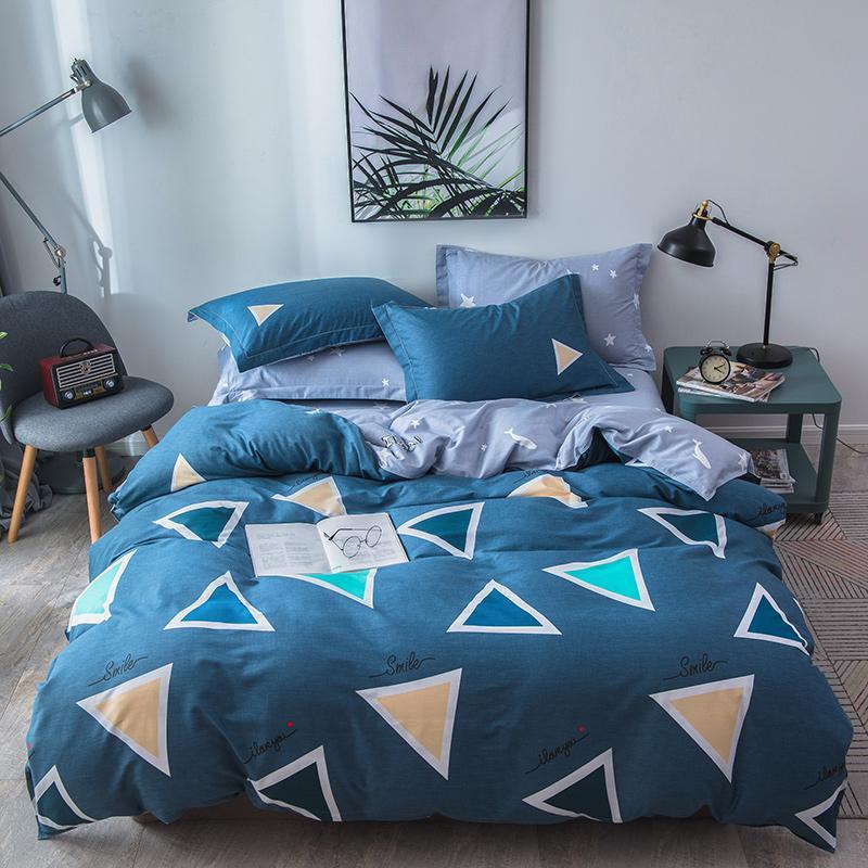4-Piece Quilt 4pcs 100% Cotton Plaid White Soft Bedding Set Twin Queen Luxurious Pillow Cases Sheets Covers Gray