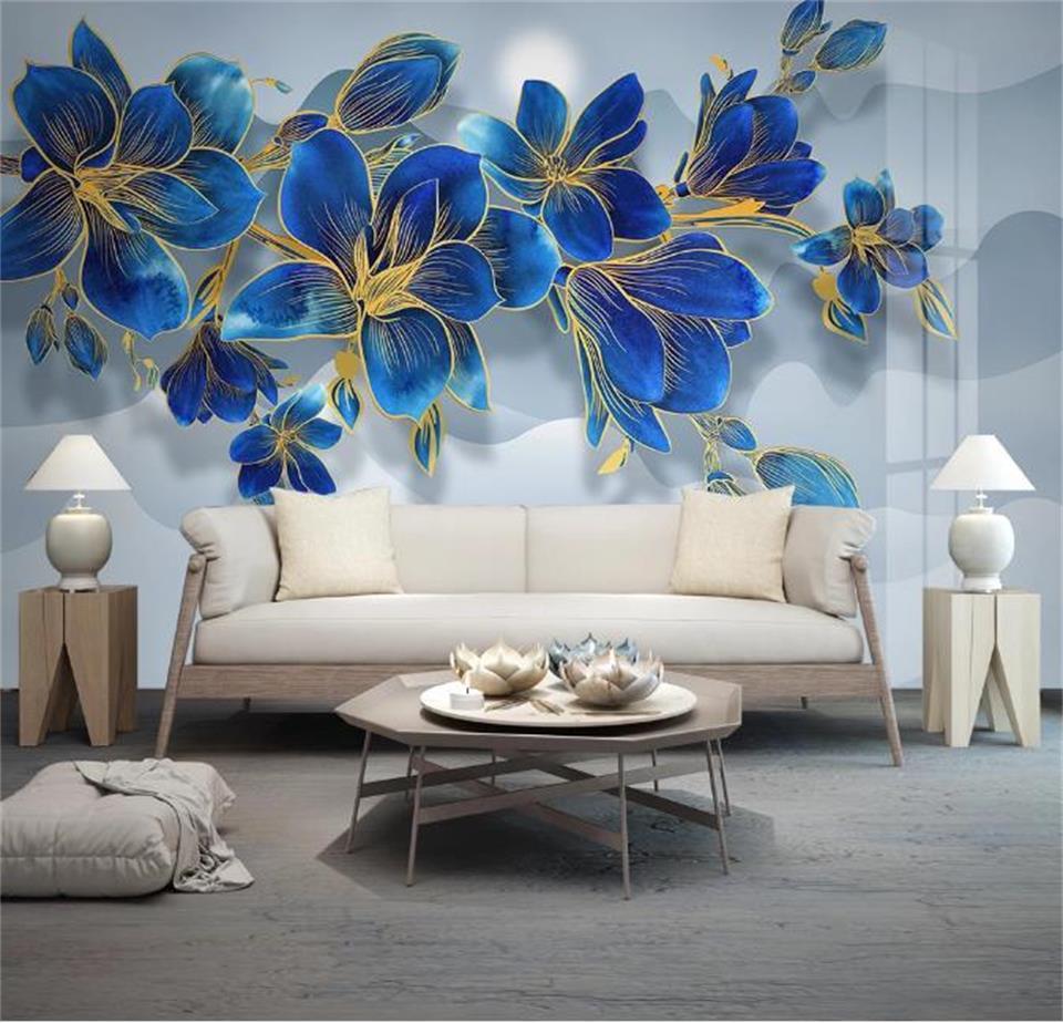 tamaño personalizado foto 3d fondo de pantalla mural de salón de magnolia flores azules 3d sofá de imagen de TV telón de fondo fondo de pantalla mural adhesivo no tejido de la pared