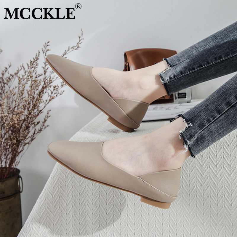 MCCKLE Femmes d'été en cuir PU Chaussures plates Mesdames couture Femme Mode Casual Chaussures Femme Confort talon bas Flats Chaussures Nouveau
