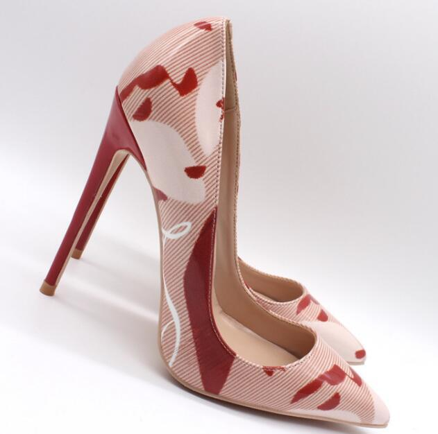 Impresión de la moda de cuero de las mujeres altos Así que Kate de 12 cm / 10 cm / 8 cm zapatos de boda Mujer Pigalle bombas atractivas grande de las señoras TALLA 42 43 44
