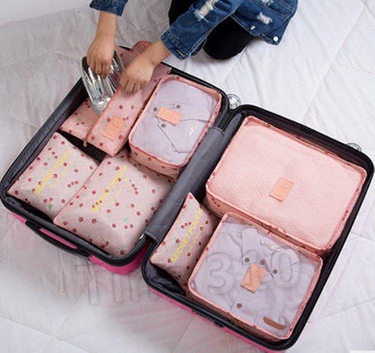 Viaje caliente bolsas de almacenamiento de equipo portátil Tidy Maleta Organizador ropa que embala armario divisor del bolso del envase 1 juego / 6pcs HomewareT2D5053