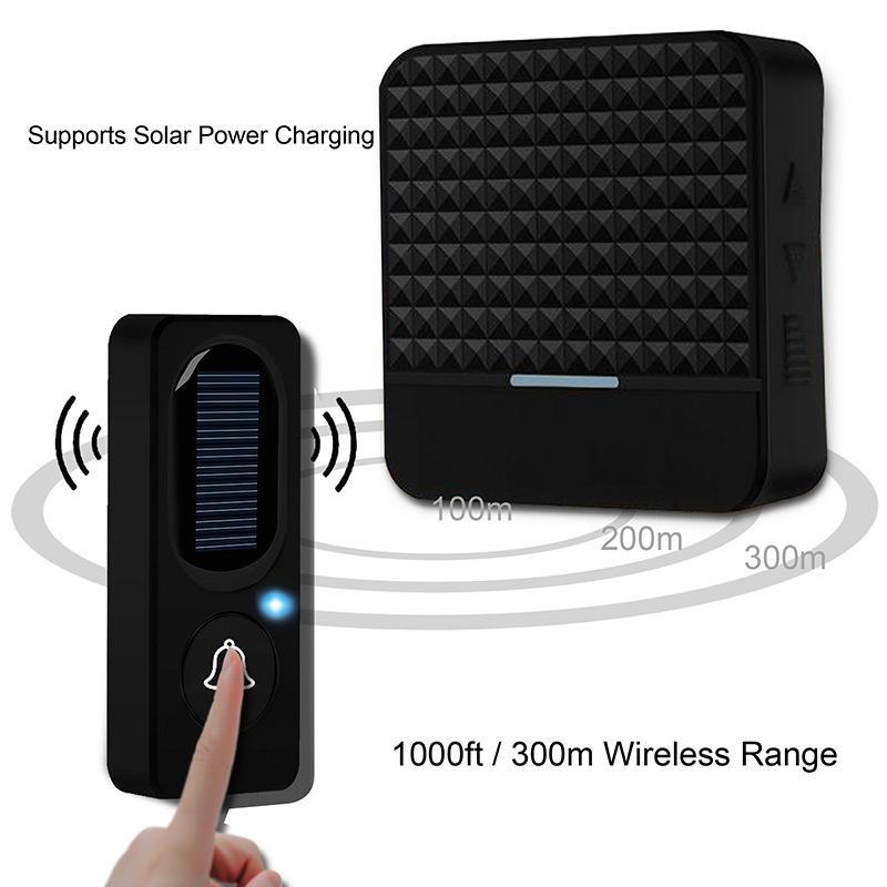 Inalámbrico solar del hogar del timbre inalámbrico IP65 energía solar resistente al agua 300M de timbre de la puerta Chime timbre de la puerta de carga al aire libre con la luz
