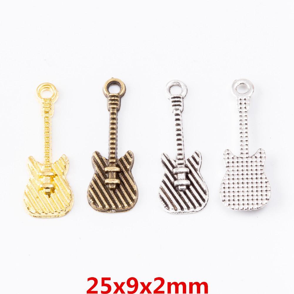100pcs 25 * 9MM tibetanische silberne Farbe Gitarre Reize Musikinstrument Anhänger für Armband Ohrring Halskette DIY Schmuckherstellung