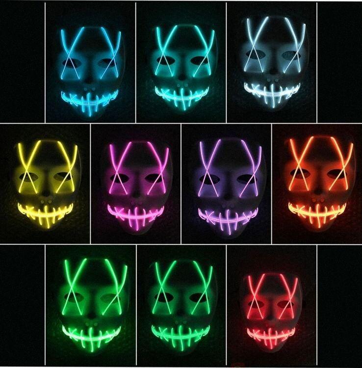 Máscara de colorido luminoso EL cable Ghost Máscaras LED que brilla intensamente cosplay máscara máscaras de baile fiesta de Halloween Decorar Máscara CLS638 DOer #