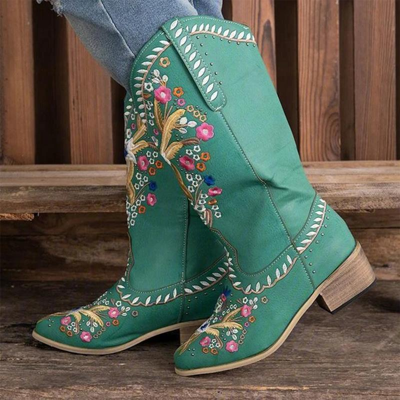 Bottes Puimetiua Broderie Femmes Occidental Corral Cowboy Floral Large Veau Vintage Slip sur