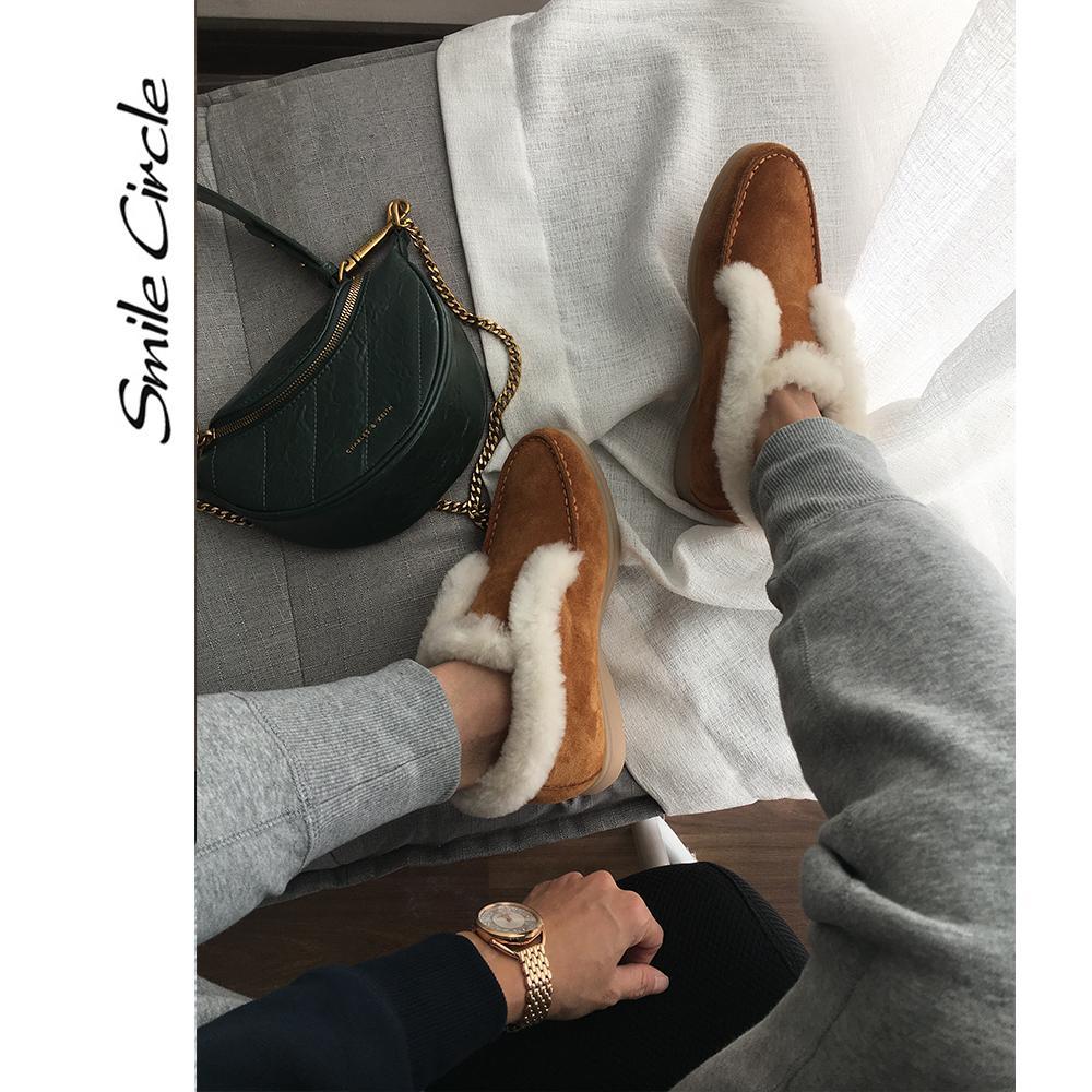 Полусапоги коровьей замши кожаных сапог природного мех Теплых зимняя обувь скольжению на снег для женщин