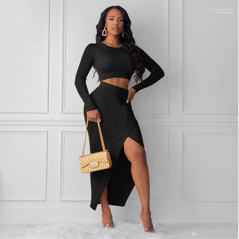 لون الصلبة كم طويل انقسام اسلوب جنسي أنثى الملابس OL عارضة الملابس النسائية الخريف مصمم 2PCS فساتين