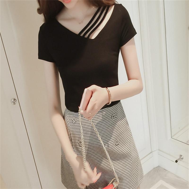 9ClpF 2019 летом новый корейский стиль V-образным вырезом черные женские футболки футболка с короткими рукавами похудение нишу сверху дизайн все-матч