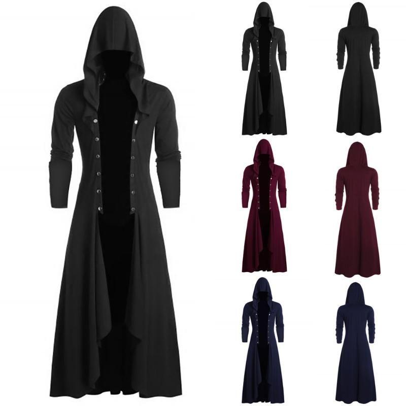 abrigo hombre chaqueta hombre mens jackets and coats Retro Steam Punk Gothic Wind Cloak Coat Fashiona Plain Cap Cardigan Coat