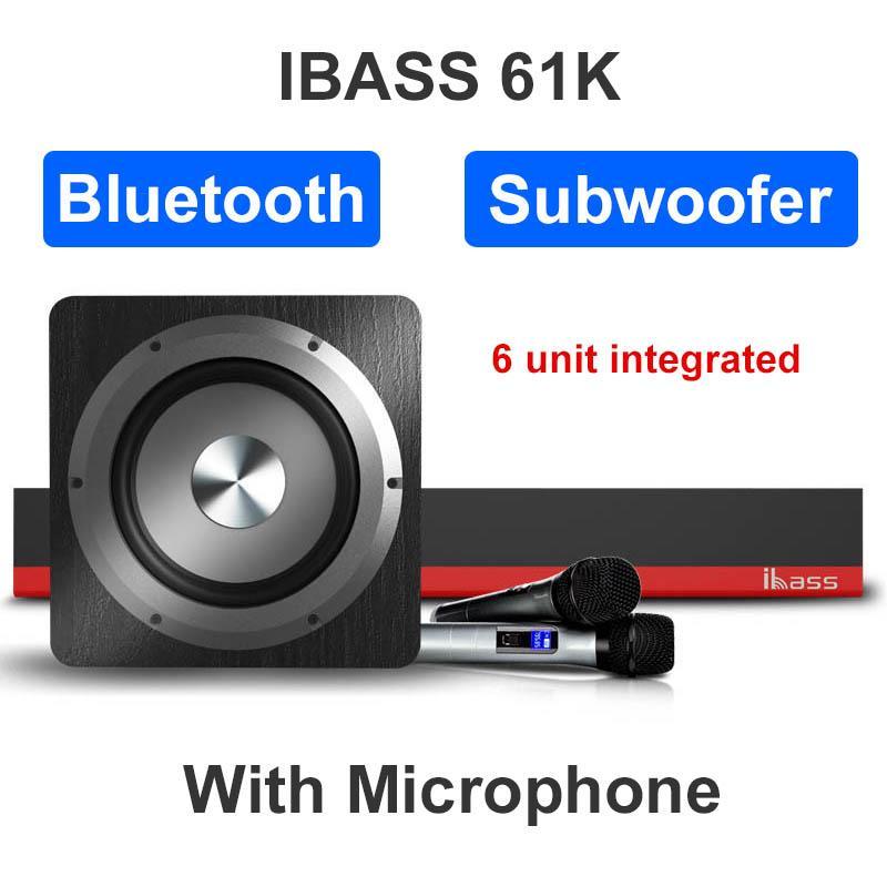 Bluetooth Soundbar IBASS 61K Динамик сабвуфера Микрофон объемного звука домашнего кинотеатра Bluetooth Speaker USB AUX оптический коаксиальный