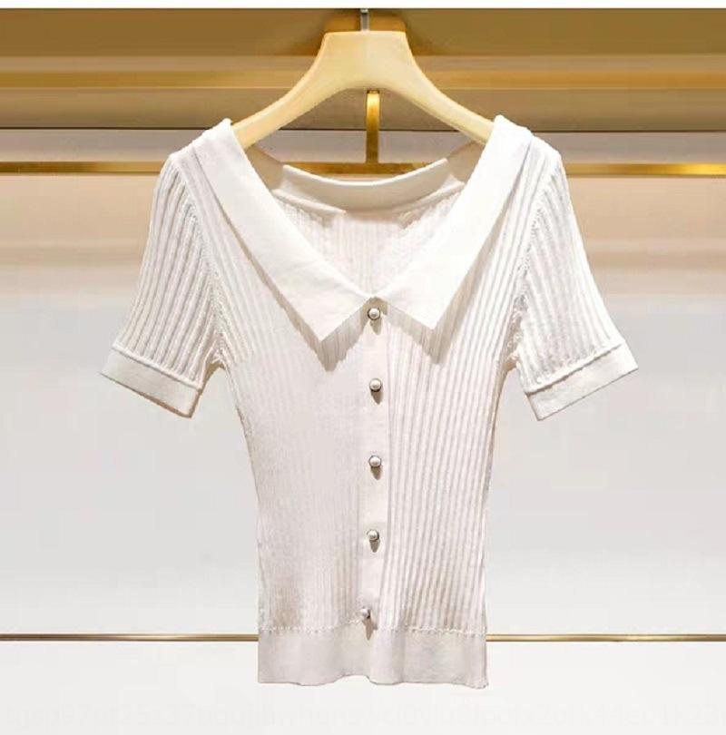 L2019 verão nova V-neck pearlslim-fit camisa fina camisola temperamento de mangas curtas Pearlpearlpearl Pearl1203201 L2019 verão pêra nova V-neck
