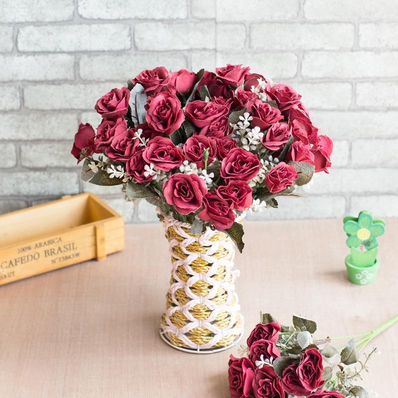 1 Bunch 12 Head Thai Royal Rose Artificial Flowers Bridal Bouquet Party Wedding Decoration Fake Silk Flower Home Decor