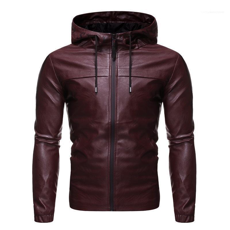 Ropa para Hombres de cuero Casual 2020 del diseñador del Mens chaquetas con capucha de la cremallera de la solapa del cuello abrigos con mangas larga delgada