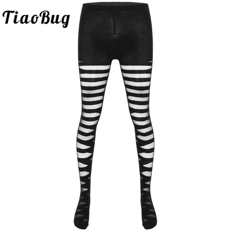 Мужские носки Tiaobug Men Sissy женское белье Striped видят сквозь выпуклость сумка колготки натягивает леггинсы мужское гей сексуальное нижнее белье Hosiery