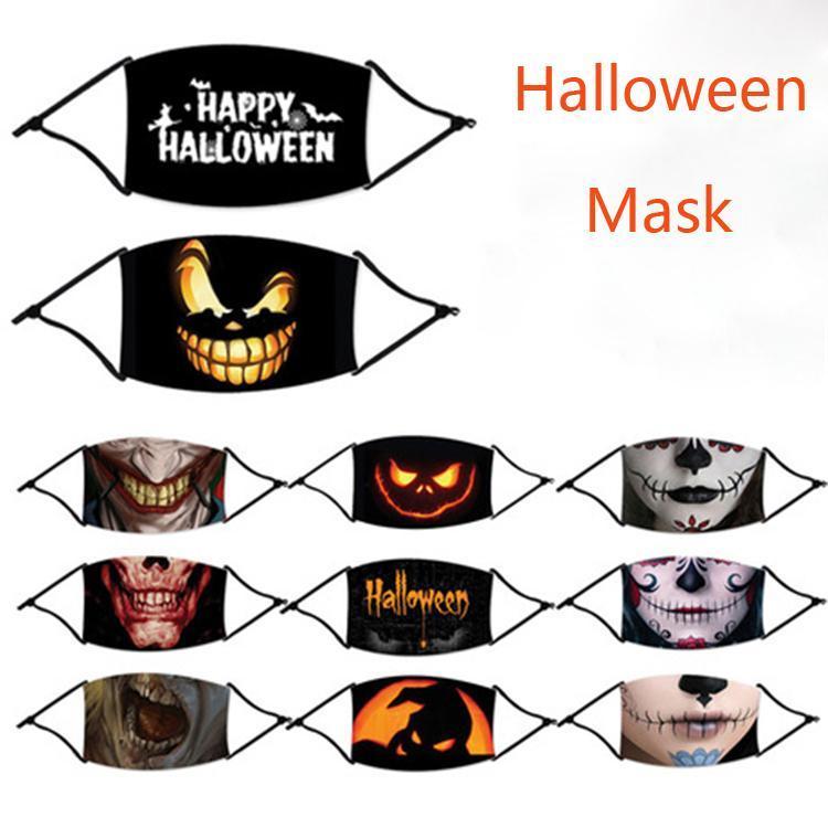 Maschera di Halloween riutilizzabile 3D Pittura zucca Smorfia cotone riutilizzabile Maschera protettiva PM2.5 Carbon filtri per adulti Kid Maschera DHF968