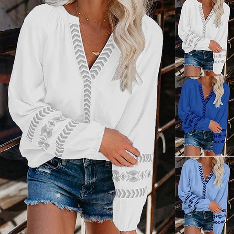 Kadın Gömlek Sonbahar Yeni Moda Katı Kadınlar Bluzlar Şık Derin V Yaka Uzun Kollu Bluz Gömlek Casual Lady Gevşek blusa Streetwear Tops