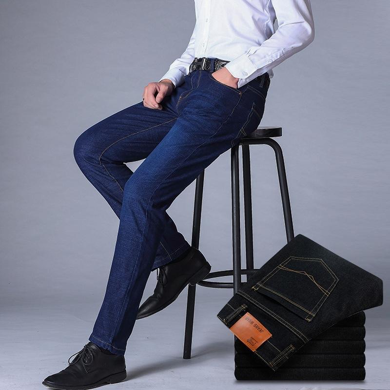 5WAN1 2020 otoño pantalones nuevos negocios estiramiento y pantalones vaqueros y los pantalones de los hombres de los hombres de moda los pantalones vaqueros rectos delgados largos pantalones 858-1
