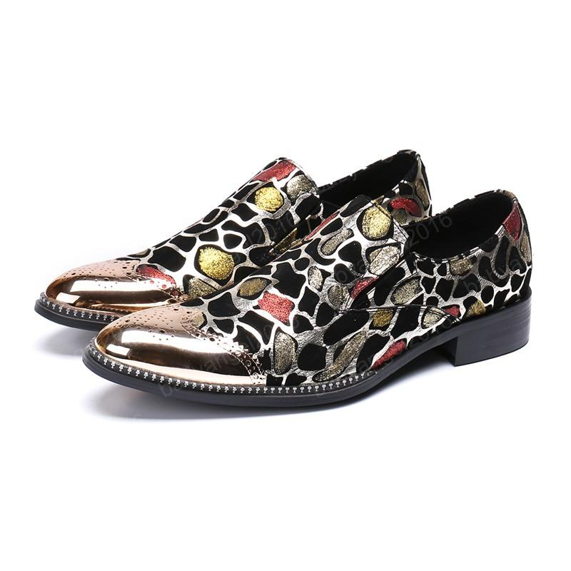 Printing Large Size Man Shoes Real Leather Pointed Toe Printing Business Shoes Male British Style Brogue Shoes