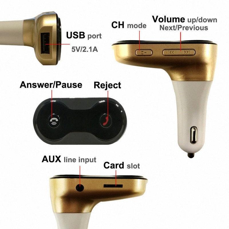 Mains libres sans fil Bluetooth Transmetteur FM + Kit AUX Modulator Lecteur MP3 TF SD USB LCD Accessoires voiture de l'#
