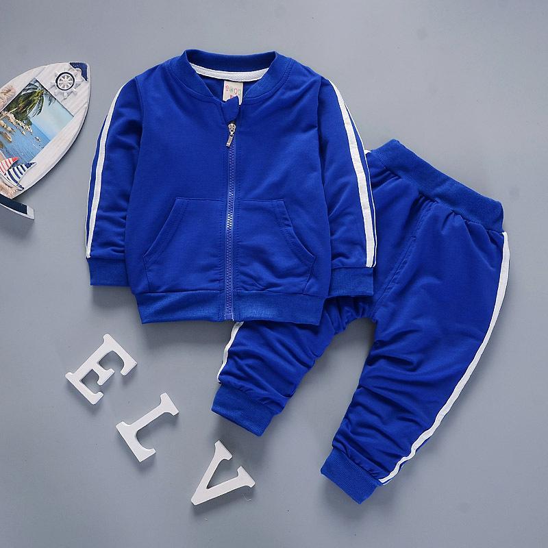 Vestiti dei ragazzi casual Abbigliamento per bambini Set Primavera Autunno Zipper Leisure Suit sport jacket + pants bambini Bebes tute da jogging Y200829