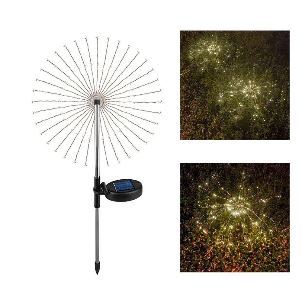 DIY LED Fogos Fada Luz Cordas 120 LED Solar Powered Estaca Firework Quente Luz Branca para decoração de Natal ao ar livre