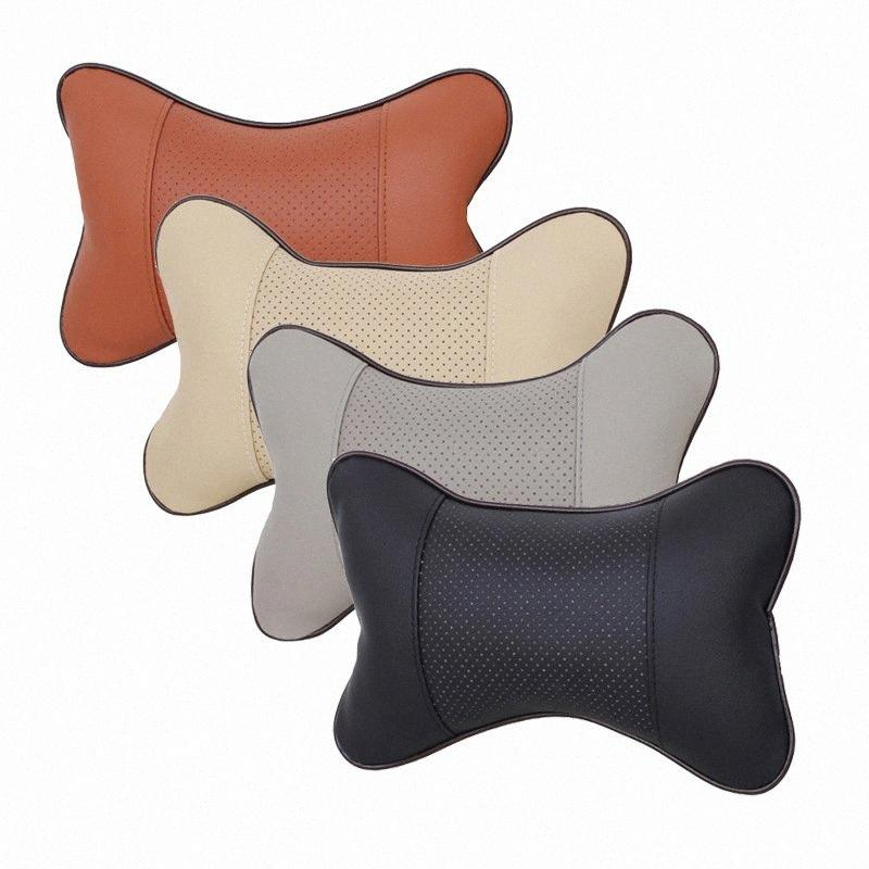 2pcs / set del sedile auto auto cuscino poggiatesta auto poggiatesta in pelle forniture automobilistiche collo x7YR sicurezza #