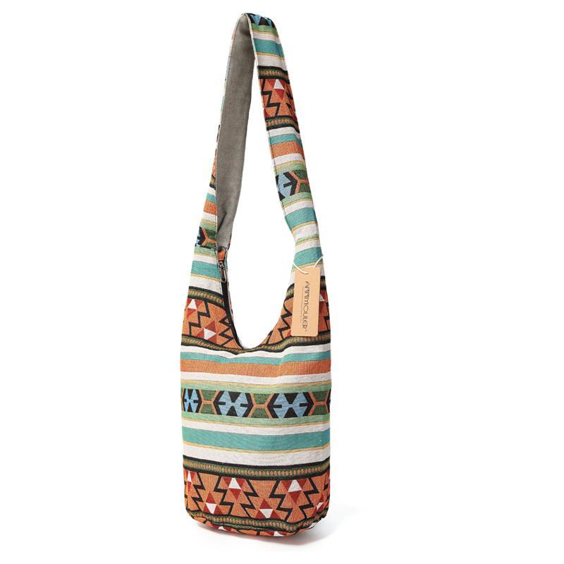 Annmouler grande capacité Femmes épaule style bohème haute qualité coton Crossbody géométrique Messenger Bag MX200817