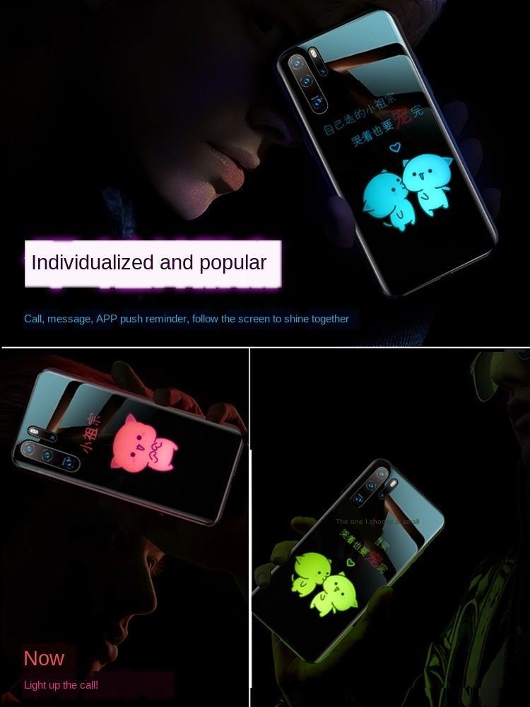 3vNQP Applicabile a Huawei P30pro cassa del telefono Flash mate20pro protettiva cassa del telefono mobile luminoso dei cartoni animati di vetro incandescente nova5i lumin Shield