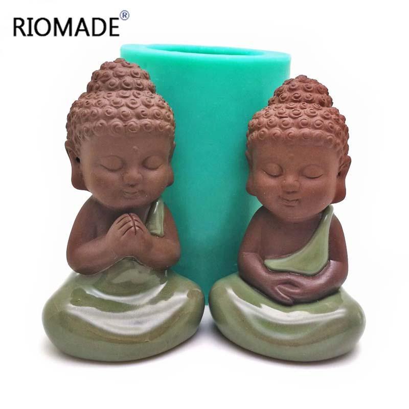 Mold 3D Buddha Statu Silicone Vela Moldes Handmade Estátua Porcelain Mold Tools Baking decorativas