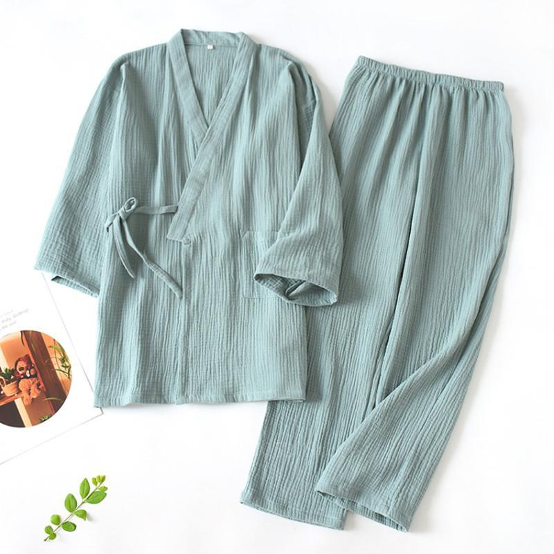 Kimono-Pyjamas Frau Kimono-Kleid japanischen Stil Baumwolle Nachtwäsche Vintage-Bluse weiche Männer Haori Jinbei Yukata Paar Nightgown