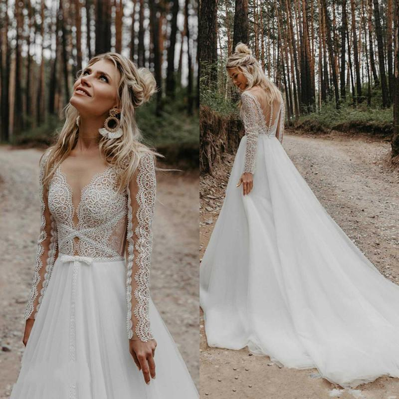 2021 Bohemian Wedding Dress Lace Appliqued Long Sleeve Sheer V Neck Vestido De Noiva Sweep Train Beach Boho Wedding Dresses Bridal Gowns