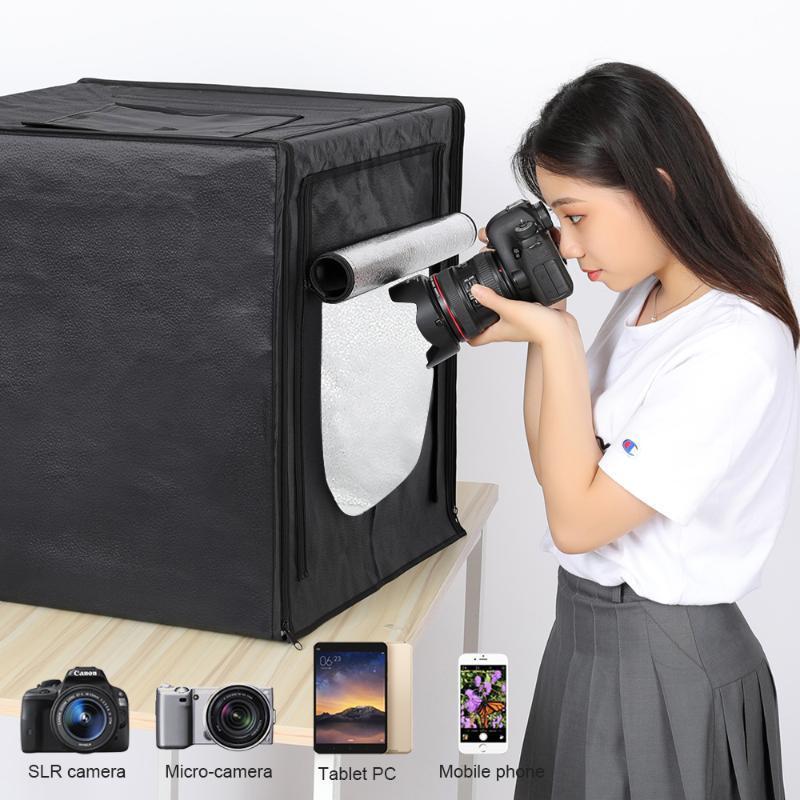 Mini Fotoğraf Stüdyosu Işık Kutusu Masa Çekim Çadırı 50 cm Yumuşak Kutu 132 LED Fotoğrafçılık Işık Portatif Katlanır Studio Takımı Yükseltme