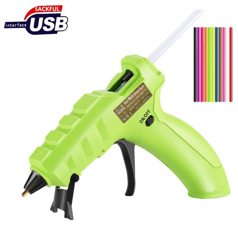 USB Recharge Hot silicon gun wireless Battery Use 7MM colorful hot Glue Sticks thin beak handmade tools