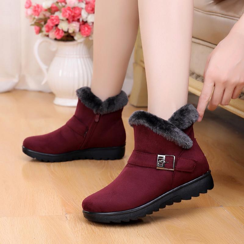 Women Zip Winter Snow Boots Ladies Warm Fur Suede Wedge Ankle Boot Female Fashion Casual Shoes Comfort Footwear Plus Size 35-41 T200106